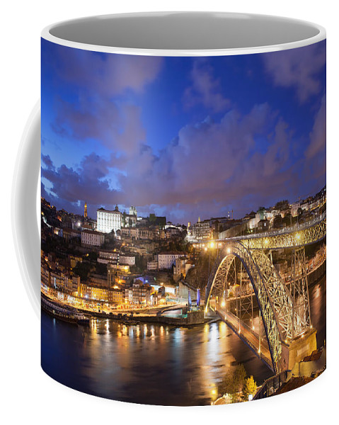 Porto Coffee Mug featuring the photograph City Of Porto In Portugal By Night by Artur Bogacki