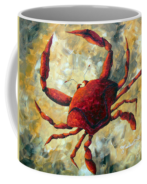 Coastal Coffee Mug featuring the painting Coastal Crab Decorative Painting Original Art Coastal Luxe Crab By Madart by Megan Duncanson