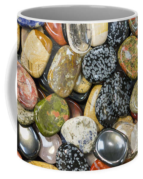 Gems Coffee Mug featuring the photograph Colored Polished Rocks by Steven Ralser