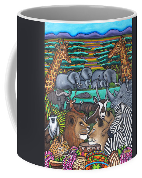 Africa Coffee Mug featuring the painting Colours of Africa by Lisa Lorenz