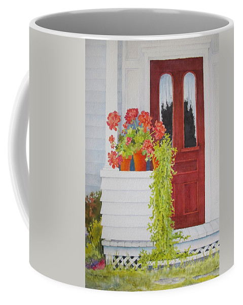 Door Coffee Mug featuring the painting Come On In by Mary Ellen Mueller Legault