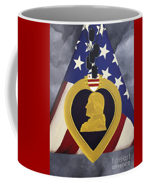 Military Painting Coffee Mug featuring the painting Cost Of Freedom by D L Gerring