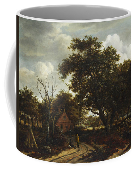 Meindert Hobbema Coffee Mug featuring the painting Cottages In A Wood by Meindert Hobbema