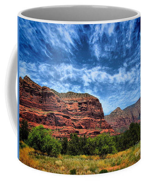 Arid Climate Coffee Mug featuring the photograph Courthouse Butte Sedona Arizona by Amy Cicconi