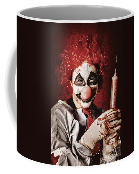 Syringe Coffee Mug featuring the photograph Crazy Medical Clown Holding Oversized Syringe by Jorgo Photography - Wall Art Gallery