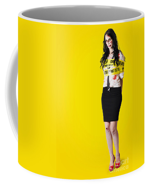Background Coffee Mug featuring the photograph Creepy Homicide Girl Standing Undead On Yellow by Jorgo Photography - Wall Art Gallery