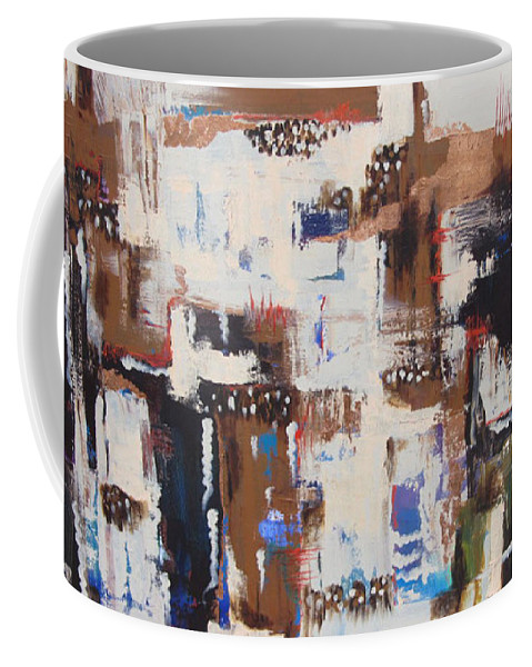Abstract Coffee Mug featuring the painting Crossing Paths by Bernie Bombardier