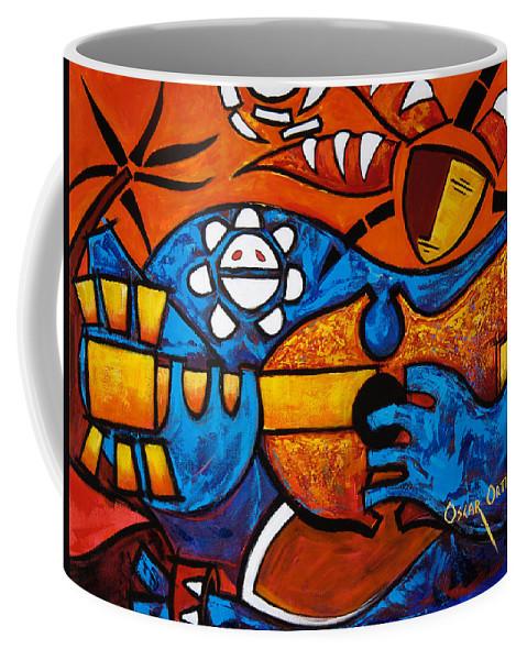 Puerto Rico Coffee Mug featuring the painting Cuatro En Grande by Oscar Ortiz