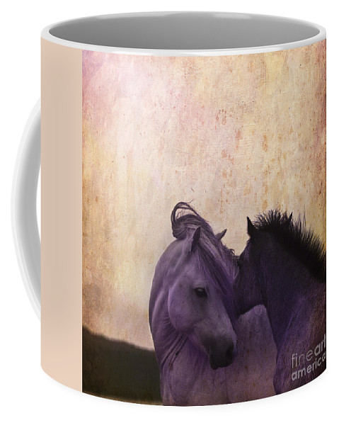 Horse Coffee Mug featuring the photograph Cuddle Me by Angel Ciesniarska