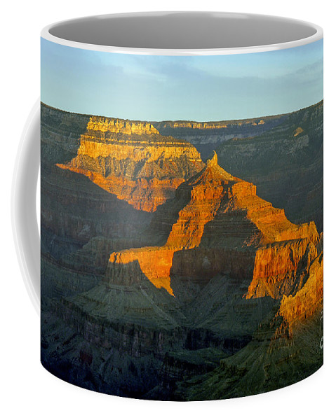 Grand Canyon National Park Arizona Parks South Rim Canyons Rock Formations Rock Formation Sunrise Sunrises Landscape Landscapes Coffee Mug featuring the photograph Dawn Of A New Day by Bob Phillips
