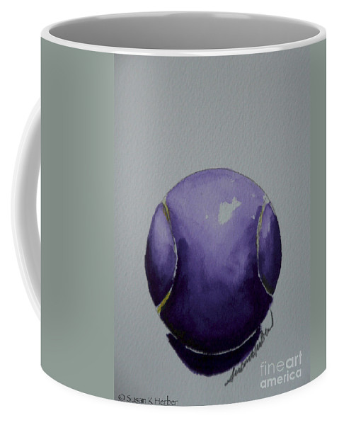 Tennis Ball Coffee Mug featuring the painting Deep Violet by Susan Herber