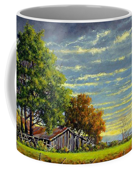 Landscape Coffee Mug featuring the painting Dusk by Jim Gola