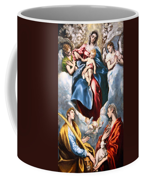 Madonna And Child With Saint Martina And Saint Agnes Coffee Mug featuring the photograph El Greco's Madonna And Child With Saint Martina And Saint Agnes by Cora Wandel