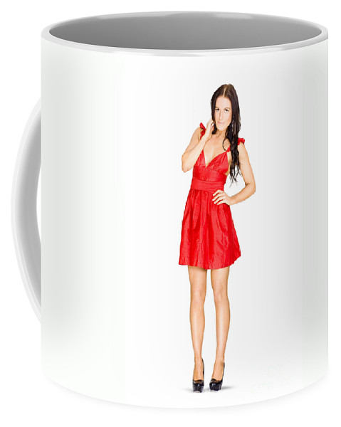 Adult Coffee Mug featuring the photograph Elegant Woman Full Body Portrait Isolated On White by Jorgo Photography - Wall Art Gallery