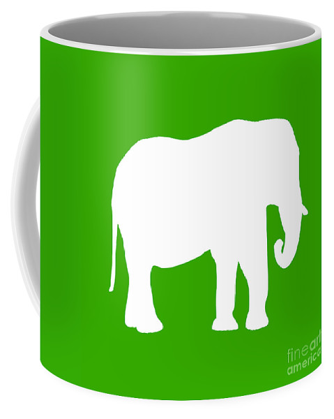 Graphic Art Coffee Mug featuring the digital art Elephant In Green And White by Jackie Farnsworth