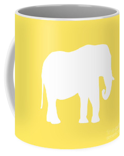Graphic Art Coffee Mug featuring the digital art Elephant In Yellow And White by Jackie Farnsworth
