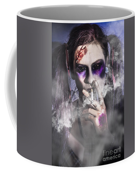Zombie Coffee Mug featuring the photograph Evil Zombie Schoolgirl Smoking Cigarette by Jorgo Photography - Wall Art Gallery