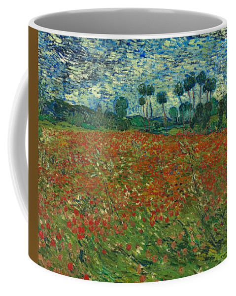 Vincent Van Gogh Coffee Mug featuring the painting Field With Poppies by Vincent Van Gogh