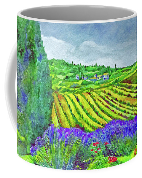 Italy Coffee Mug featuring the painting Fields At Dievole by Kandy Cross