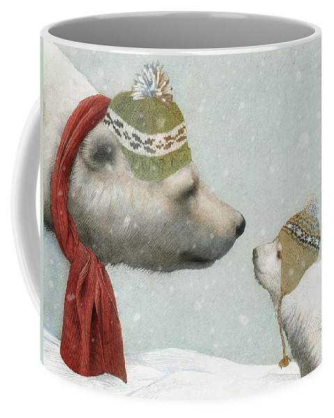 Polar Bear Coffee Mug featuring the drawing First Winter by Eric Fan