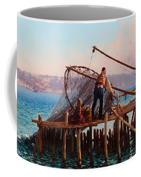 Painting Coffee Mug featuring the painting Fishermen Bringing In The Catch by Mountain Dreams