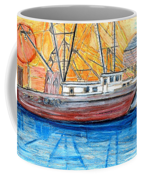 Fishing Coffee Mug featuring the drawing Fishing Trawler by Eric Schiabor