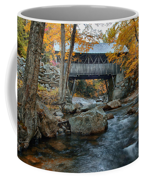 Autumn Foliage New England Coffee Mug featuring the photograph Flume Gorge Covered Bridge by Jeff Folger
