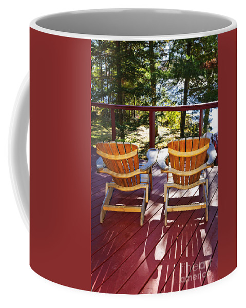 Deck Coffee Mug featuring the photograph Forest Cottage Deck And Chairs by Elena Elisseeva
