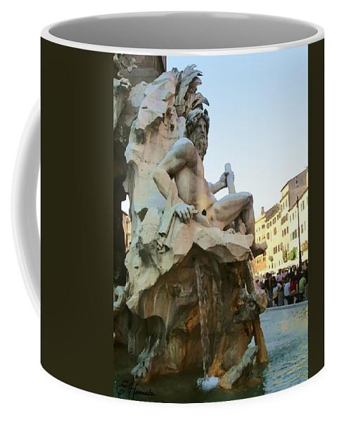 Fountain Of The Four Rivers Coffee Mug featuring the painting Fountain Of The Four Rivers by Ellen Henneke