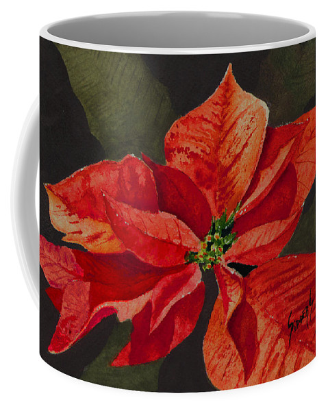 Flower Coffee Mug featuring the painting Franci's Poinsettia by Sam Sidders