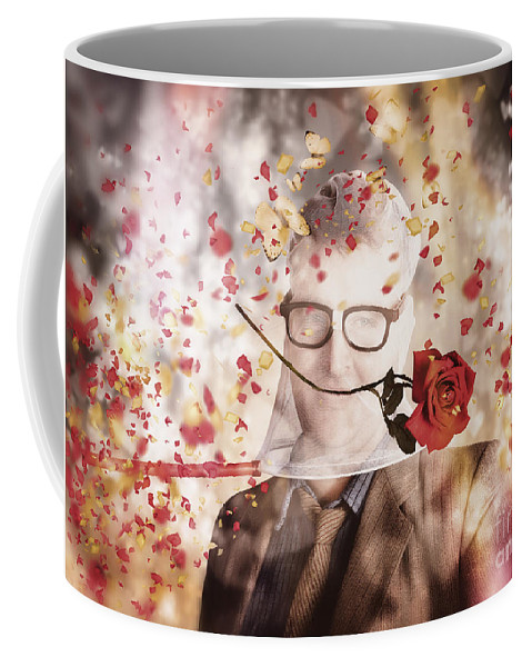 Nerd Coffee Mug featuring the photograph Funny Valentine Nerd Caught In Net Of Romance by Jorgo Photography - Wall Art Gallery