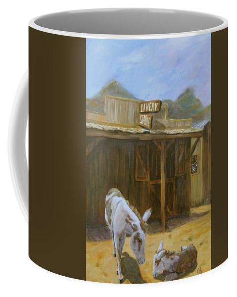Donkeys Coffee Mug featuring the painting Ghost Town by Gail Daley
