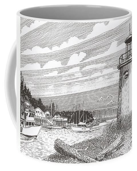 Lighthouse Art Coffee Mug featuring the drawing Lighthouse Gig Harbor Entrance by Jack Pumphrey