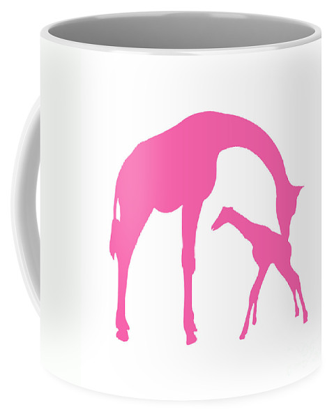 Graphic Art Coffee Mug featuring the digital art Giraffe In Pink And White by Jackie Farnsworth