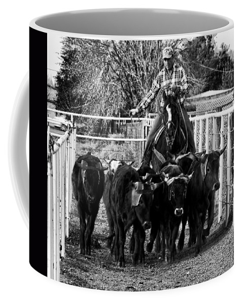 Calf Coffee Mug featuring the photograph Git Along Dogies Bw by C H Apperson