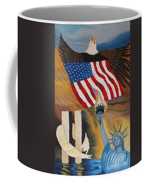 Twin Tower Coffee Mug featuring the tapestry - textile God Bless America Hand Embroidery by To-Tam Gerwe