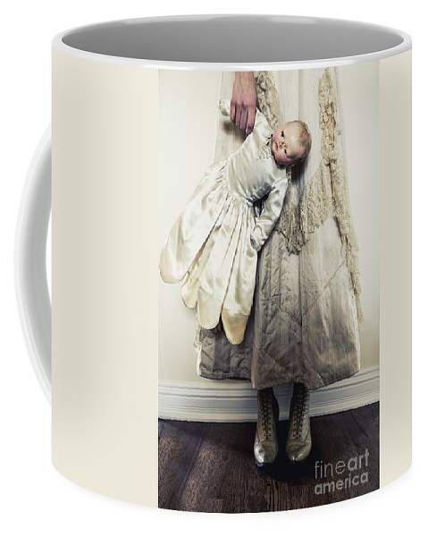 Caucasian; Female; Woman; Lady; Young Woman; Vintage; Dress; Victorian; Prim; Proper; Feminine; Beautiful; Pretty; Lovely; Indoors; Inside; Ornate; Cream; Doll; Baby; Toy; Broken; Arm; Feet; Boots; Antique; Cracked; Wood; Wooden; Porcelain; Hold; Holding; Creepy; Weird; Scary Coffee Mug featuring the photograph Hand Holding by Margie Hurwich