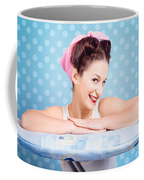 Female Coffee Mug featuring the photograph Happy 60s Pinup Housewife On Blue Ironing Board by Jorgo Photography - Wall Art Gallery