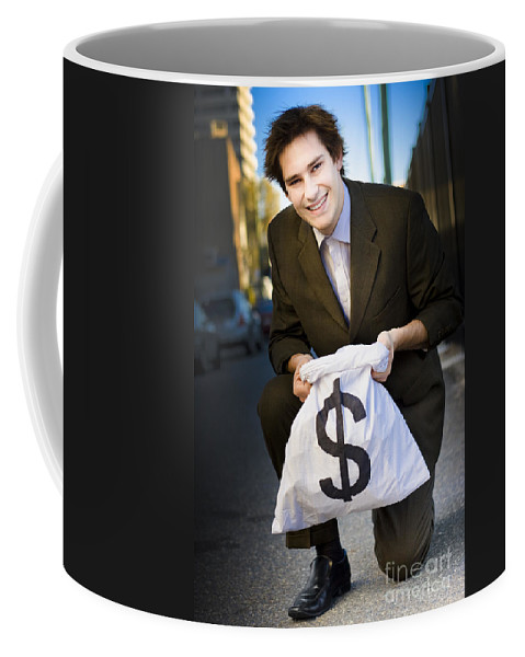 Street Coffee Mug featuring the photograph Happy Business Man Smiling With Money Bag by Jorgo Photography - Wall Art Gallery