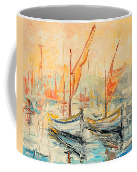 Sunrise Coffee Mug featuring the painting Harbour Impression by Luke Karcz
