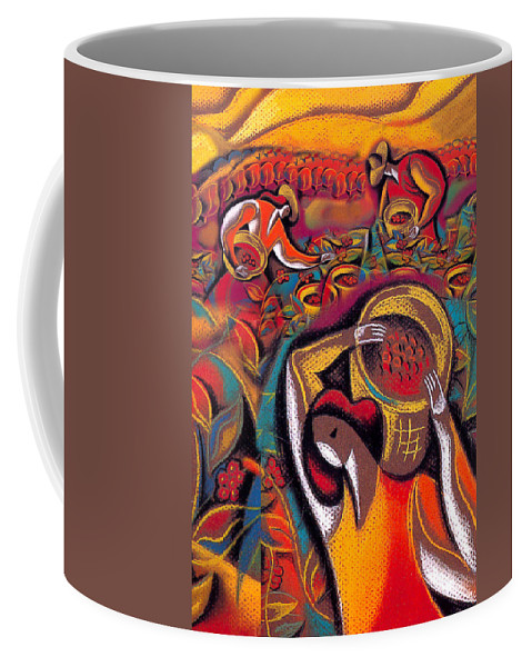 Aroma Bean Beans Caffeine Coffee Coffee Bean Coffee Cup Coffee Pot Crop Crops Cultivate Cultivation Export Exporting Fresh Gather Gathering Harvest Harvesting Morning Peasants Pick Picking Produce Production Reap Reaping Workers Coffee Mug featuring the painting Harvest 2 by Leon Zernitsky