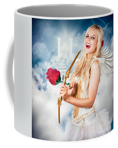 Cupid Coffee Mug featuring the photograph Heavenly Angel Of Love With Flower Arrow by Jorgo Photography - Wall Art Gallery