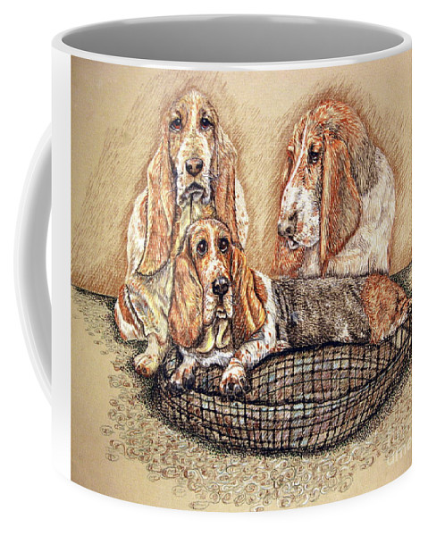 Basset Hound Coffee Mug featuring the drawing Hess'er Puppies by Linda Simon