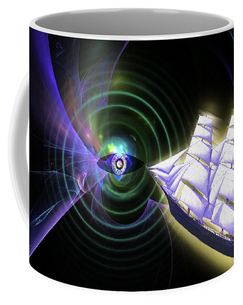 Ship Coffee Mug featuring the digital art Into The Unknown by Lisa Yount