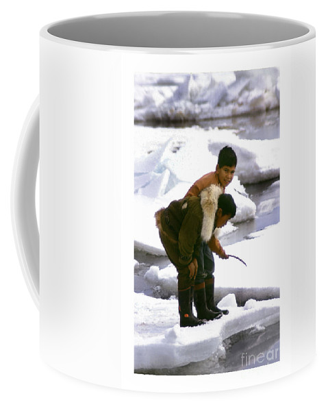 Inuit Coffee Mug featuring the photograph Inuit Boys Ice Fishing Barrow Alaska July 1969 by California Views Archives Mr Pat Hathaway Archives