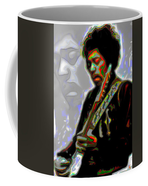 Jimi Hendrix; Jimi Hendrix Picture; Portrait Painting; Fine Art; Fine Art America; Fine Art Print; Figurative Art; Man; Modern Art; Music; Celebrity; Contemporary Art; Fli Coffee Mug featuring the painting Jimi Hendrix by Fli Art