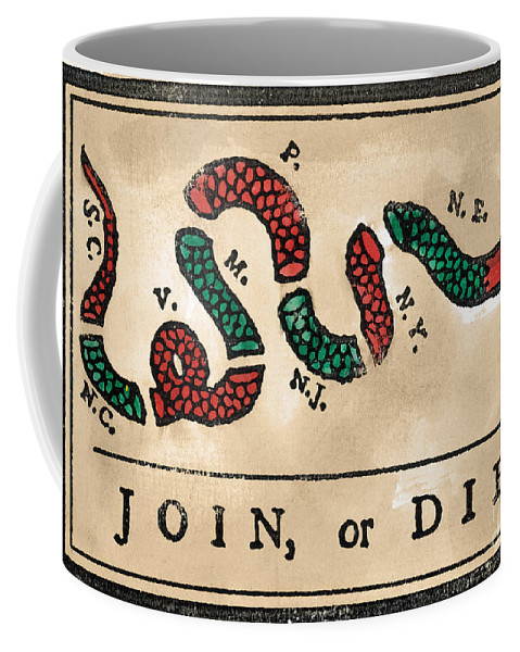 1754 Coffee Mug featuring the painting Join Or Die Cartoon 1754 by Benjamin Franklin