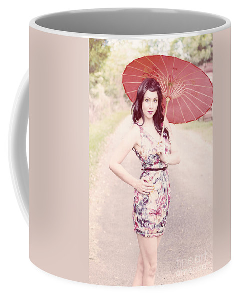 Bright Coffee Mug featuring the photograph Lady With Red Parasol by Jorgo Photography - Wall Art Gallery