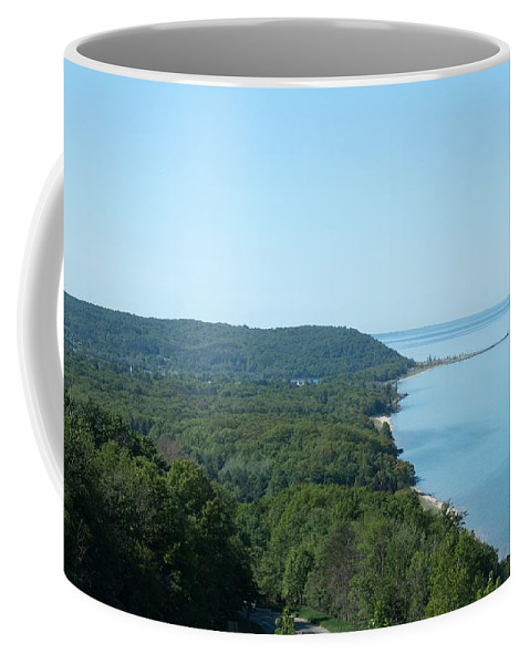 Arcadia Michigan Coffee Mug featuring the photograph Lake Michigan by Linda Kerkau