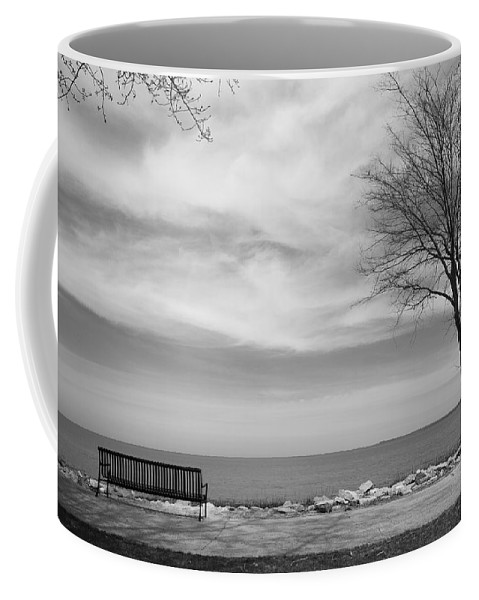 Art Coffee Mug featuring the photograph Lake Tree And Park Bench by Frank Romeo